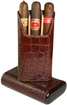 Brizard 3 Cigar Case Croco Tobacco