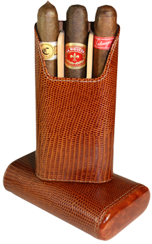 Brizard 3 Cigar Case Lizard Havana - Click for details