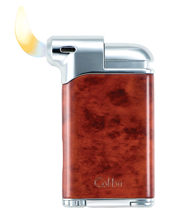 Colibri Pacific Pipe Lighter Burl and Chrome