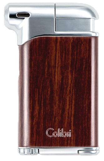 Colibri Pacific Pipe Lighter Wood Grain / Chrome