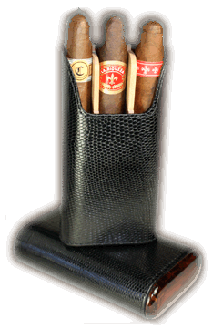 Brizard 3 Cigar Case Lizard Black - Click for details